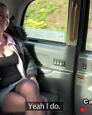 Busty Czech babe in fake taxi public busty