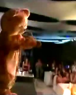 Group of wild CFNM party girls play and suck male stripper