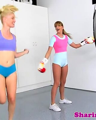 Sporty lez babes pussylicking and fingering