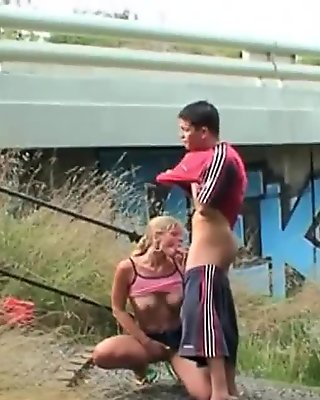 Young Czech couple bangs in public