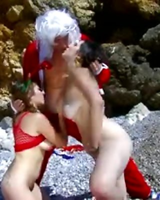 Lovely French lesbians sharing a lucky guy.s big cock