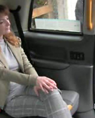 Scotish redhead anal banged in British fake taxi