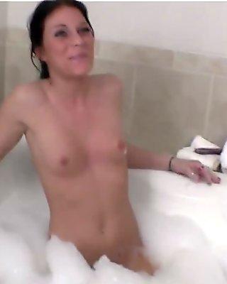 Bubble Bath Wet Dildo Fuck and Blowjob Hot Black Haired Iowa Beauty