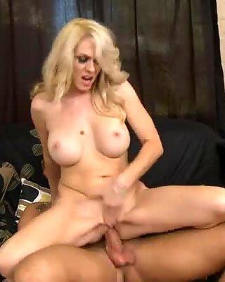 Blonde MILF Angella Attison fiercely rides on cock