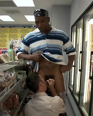 Hot dude gets his ass fucked on a store floor