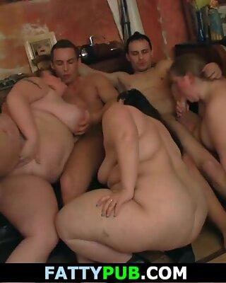 gang bbw bang-out in the humungous bar