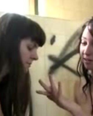 Amateur lesbians finger fuck in public Aussie building
