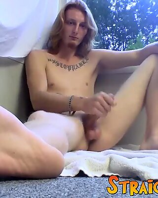 Long haired straight guy Kenneth gets his big dick