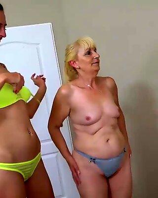 OldNanny Lesbian tattooed girl masturbate