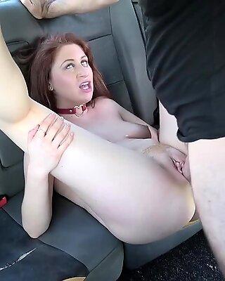 Natural busty redhead banging in fake taxi