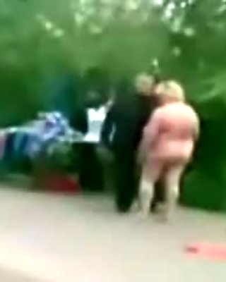 Granny held a naked show on the street