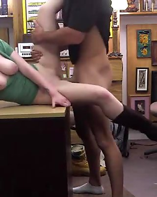 Pale booty blonde gets humped hardcore by a pawn shop man