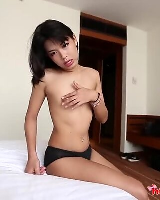HELLOLADYBOY Petite Thai Asian LadyBoy Deep Throats Big Dick