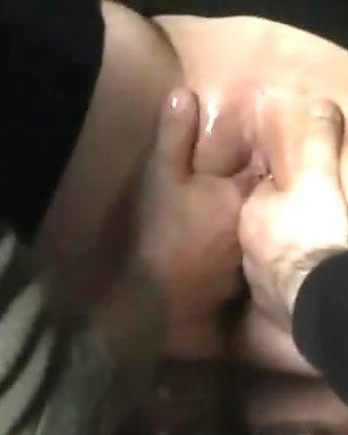Amateur slut fist fucked in a public bar
