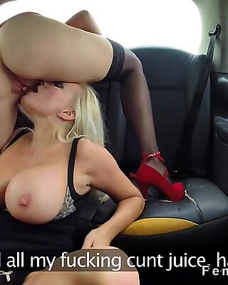Lesbians caught licking in fake taxi