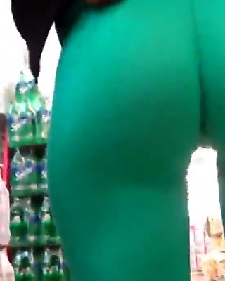 Big Round Latin Ass and Deep Cameltoe in Ultra Tight Greens