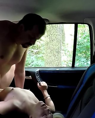 Blonde beauty takes cab drivers big cock in public