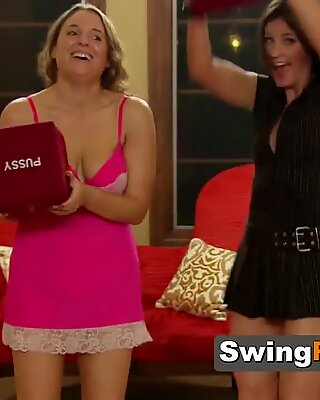 Dices decided which swinger will be fucked at the red room by a mature or young swinger couple.