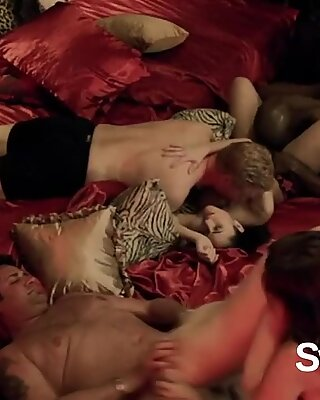 Ass licking and sucking black cocks is what swingers like to do at the red room in a big orgy. - Big Red