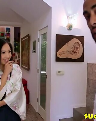 Japanese kimono babe sucking big black cock