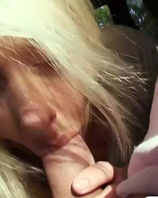 Horny blonde gets persuaded to suck a strangers cock and receives cumshot