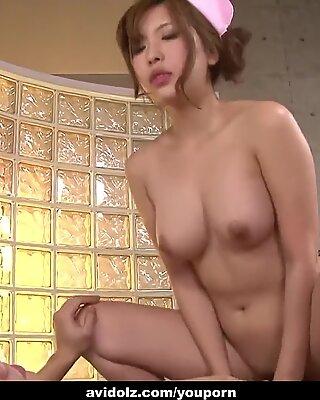 Lusty Japanese babe Ami Kurosawa pussy pounded hard and fast