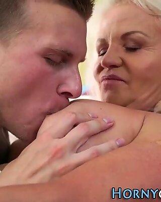 Inked grandma spunked on
