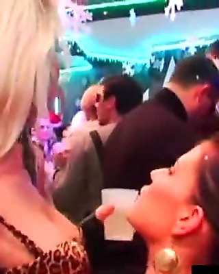 Hottie pornstars fuck in a club