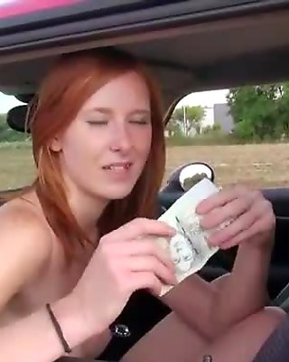 Amateur red haired girl banged for money