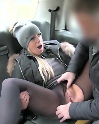 Perky tits brunette babe gets railed by nasty driver