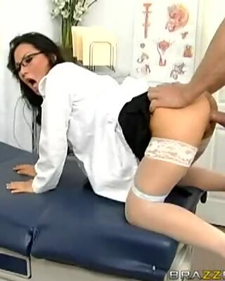 Sexy doctor Asa Akira gets pounded hard in her tight little Asian pussy