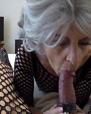 Granny sucking cock...