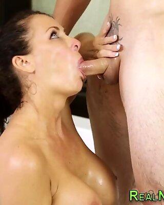 Mature masseuse mouthful