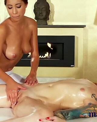 Massage Rooms Oily lesbian sex for beautiful big tits Asian babe
