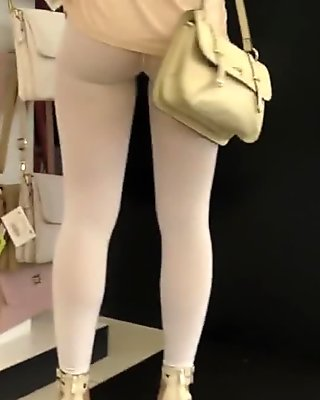Jeny Smith - white pantyhose flashing spycam