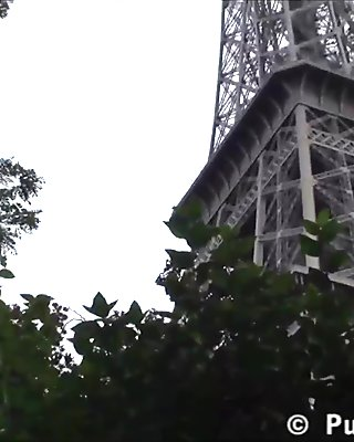 Eiffel Tower in Parice France is where this public sex threesome took place