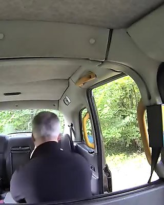 Fake taxi driver bangs blonde in tights