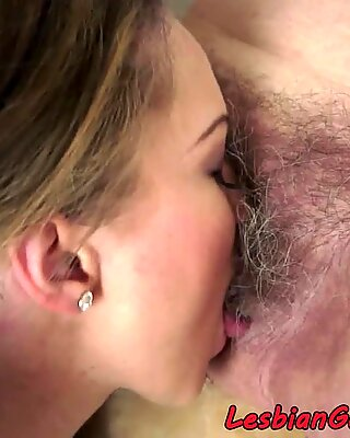 Teen eats matures hairy pussy