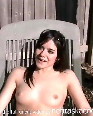 naked sunbathing by the pool
