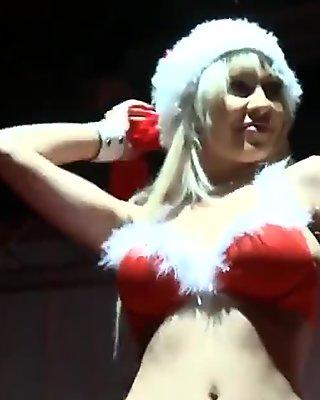 Three Mrs. Santa Claus strippers getting dirty